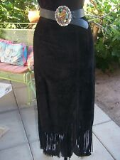 Western Biker Long Black Suede Leather Fringe Skirt~S/XS~EUC