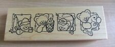 Darcie's ~ S-4307 Bear Fishing Rod Reel Fish Rubber Stamp ~ D2