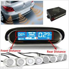8× Silver Parking Sensor Car Reverse Radar Alarm Dual-core Dual LCD Display Kit