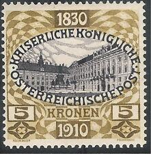 Austria 1910 80th Birthday purple/brown 5k SG238 MNH