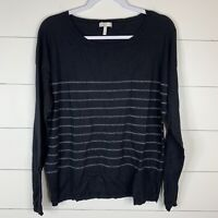 Joie Womens Black/Metallic Size Large Long Sleeve Boat Neck Pullover Sweater