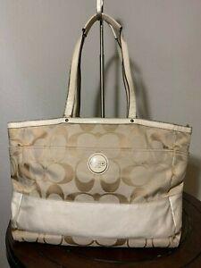 COACH Signature Stripe Ivory Khaki Jacquard Diaper Baby Bag Tote Purse F17443