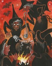 1.5x2 DOLLHOUSE MINIATURE PRINT OF PAINTING RYTA 1:12 SCALE HALLOWEEN WITCH STEW