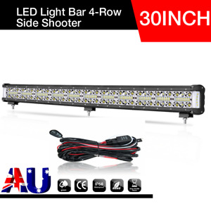 30 INCH Quad Row LED Light Bar Spot Flood Driving Side Shooter Offroad + Wiring