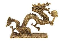 Beautiful Large Bronze Brass Oriental Dragon with Ball Feng Shui Figurine