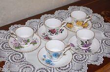 5 Vtg ROYAL WINDSOR Bone China Demitasse Cup & Saucer Sets/Roses/Daisy/Violets