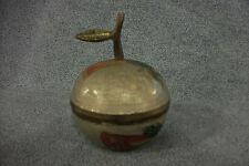 Penco Industries Made in India Brass / Metal Apple Trinket Jewelry Box Flowers