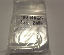Reclosable Ziploc Bags. 3x4 100 Clear Bags.