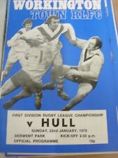 22/01/1978 Rugby League Programme: Workington Town v Hull (team changes)