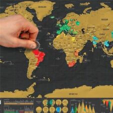 Scratch Off World Map Poster Personalized Deluxe Travel States Tracker Large New