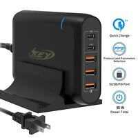 Multi-Port Type C USB-C Quick Charger 3.0 Power Adapter Laptop Phones 18W 65W PD