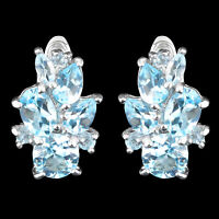 100% NATURAL 7MM SKY BLUE TOPAZ GENUINE GEMSTONE STERLING SILVER 925 EARRING
