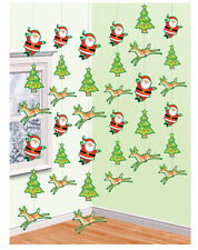6 x Santa Reno árbol de Navidad Fiesta Navidad Decoración Colgante Cuerdas