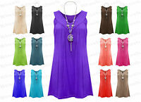 Ladies Frill Gypsy Womens Necklace Tunic Sleeveless V Neck Plus Size Top Vest