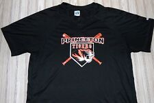 princeton TIGERS baseball SHIRT jersey L large POLY adult MEN button UP ss BLACK