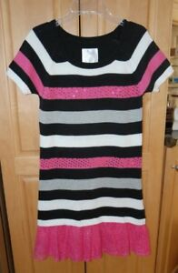 Justice Pink/Black/White Striped Sequin Dress - Girls Size 16