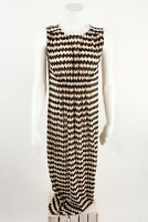 Zara Womens Dress Small Black Tan Zig Zag Pleated Midi Sleeveless 1131/809 NWOT