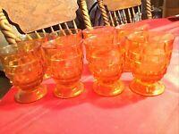 Vintage Indiana Glass Whitehall 10oz. Footed Amber Juice/Tumbler Set Of 8