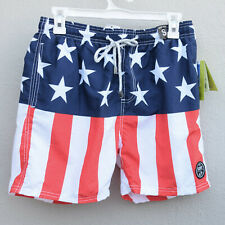 38a63519d1 Exist Mens Swim Trunks Size S American Flag Print MRSP $50