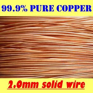 5 MT 99.9% PURE SOLID UNCOATED COPPER WIRE, 2mm dia. = 14G SWG = 12G AWG