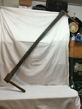 VINTAGE TWO MAN CROSSCUT LOGGING SAW  60 in Hunting Cabin Decor