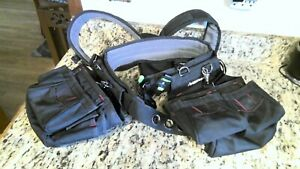 Husky 12-Pocket w/body harness Cubby Black Handyman Fabric Apron Tool Work Belt