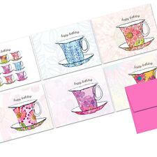 72 Note Cards - Watercolor Teacups  - Pink Envs