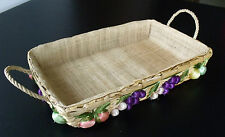 Vintage Raffia Basket Decorated with Vegetables