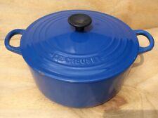 Le Creuset Castiron Enamelled 22cm Blue Lidded Casserole Pot