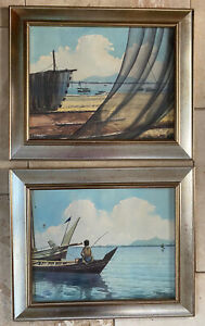 2 Original Water Colour Paintings By A B Ibrahim 1925-1977 Both Signed