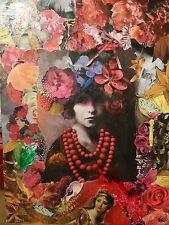 Tableau Femme aux fleurs collage sur toile original pièce unique Karago