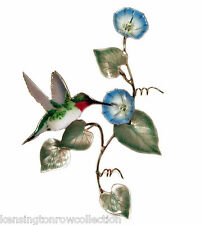 WALL ART - HUMMINGBIRD WITH MORNING GLORY METAL WALL SCULPTURE - WALL DECOR