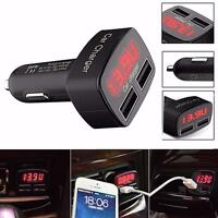 4 In 1 Dual USB Car Charger Adapter Voltage DC 5V 3.1A Tester For iPhone Samsung