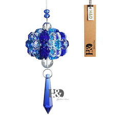 Blue Hanging Suncatcher Crystal Point Beads Prism Ball Rainbow Pendant Car Decor