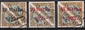 Estonia. 1923  Overprinted Imperforate Air Issues x3. Used.