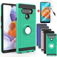 For LG K51 Q51 Reflect Shockproof Ring Stand Phone Case Cover+Screen Protector
