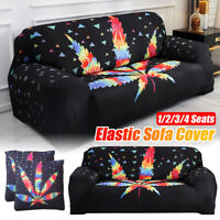 1/2/3/4 Seats Elastic Stretch Sofa Armchair Cover Leaves Pattern Living Room AU