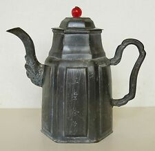 Antique 19thC YIXING Pewter CHINESE Engraved TEAPOT Signed CHARACTER Wax SEAL