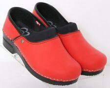 Sanita Red Stapled Non-Slip Slip-On Soft Leather Clogs Women's Euro 36 US 5.5