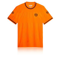 Sergio Tacchini Mens Retro T Shirt Tee Top Orange Sports Tennis Breathable