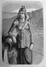 Skade Female Warrior Norse Mythology Viking 1893 Saltza 12x8 Inch Reprint