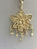 Gorgeous Vintage Ornate Flower Filigree Silver tone Necklace w Dangly Stars