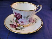 VINTAGE ROYAL ARDALT BONE CHINA TEA CUP AND SAUCER - MAROON AND PINK ROSES