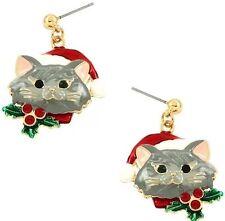 CHRISTMAS GREY KITTY CAT WEARING SANTA HAT HOLLY BERRY ON COLLAR DANGLE EARRINGS