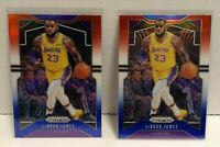 LeBron James 2019-20 Panini Red White Blue Prizm #129 Lot (2) Cards Lakers