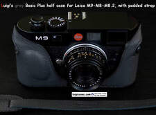 LUIGI'sNEW GRAY BASIC PLUS ITALIAN CASE for LEICA M9-M8,HANGING BACK,WITH STRAP
