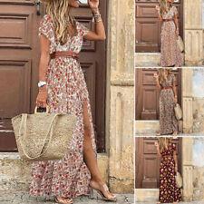 Womens Summer Floral Long Maxi Dress Ladies V Neck Boho Beach Holiday Sundress
