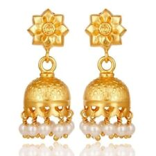 Natural Pearl 18K Gold Plated 925 Sterling Silver Jhumka Earrings Jewelry