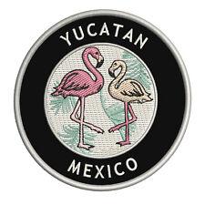 "Two Flamingos Yucatan, Mexico 3.5"" Iron/Sew On Decorative Patch"