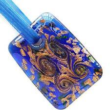 Gold Foil Royal Blue Rectangle Lampwork Glass Murano Pendant Ribbon Necklace